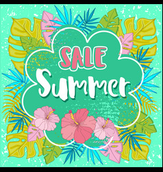 summer sale background with tropical palm leaves 2 vector image vector image