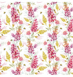 watercolor grevillea pattern vector image