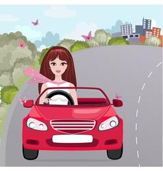 woman car vector image vector image
