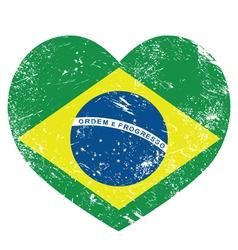 Brazil retro heart shaped flag vector image