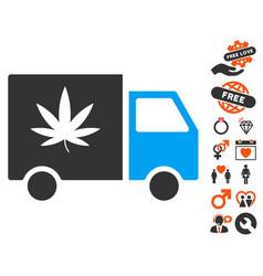 Cannabis delivery van icon with valentine bonus vector