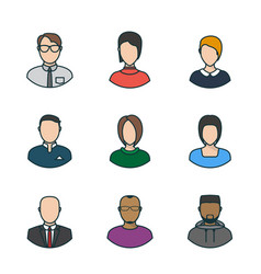 flat people faces vector image