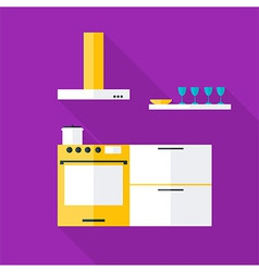 Flat stylized kitchen vector image