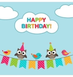 Happy birthday card with owls vector image vector image