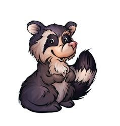 raccoon in cartoon style vector image vector image