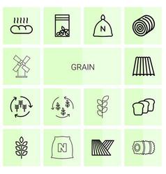 14 grain icons vector image