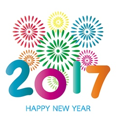 2017 Happy New Year greeting card with fireworks vector