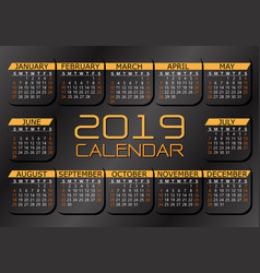 2019 calendar yellow white text number on dark vector