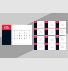2019 desk calendar in minimal style vector image