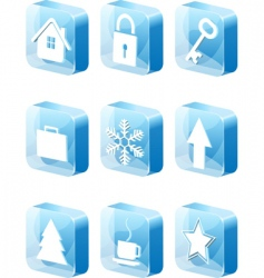3d blue icons set vector image vector image