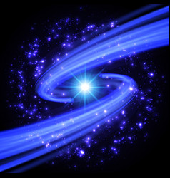 abstract design - blue spiral vortex with stars vector image