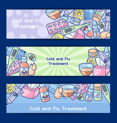 Banners with medicines and medical objects vector
