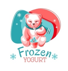 Bear Eating Frozen Yogurt vector image
