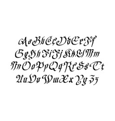 Blackletter gothic script hand-drawn font vector image