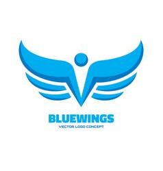 Blue wings - logo template concept vector