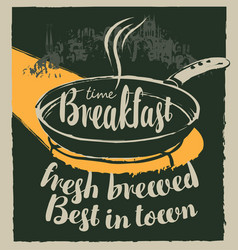 Breakfast banner with inscriptions and frying pan vector