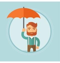Businessman holding umbrella vector image