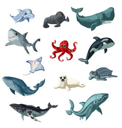 Cartoon colorful underwater animals set vector