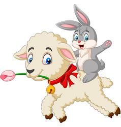 cartoon happy bunny riding a lamb vector image