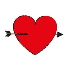 Cartoon heart with arrow love valentines day vector