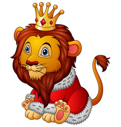 Cartoon lion in king outfit vector