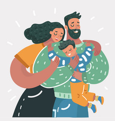 cartoon of a young happy family vector image