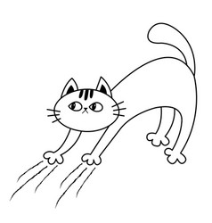 Cat arch back kitten scratching scratch track vector