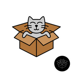cat from box logo cute cartoon cat come out vector image