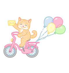 cat on bike vector image