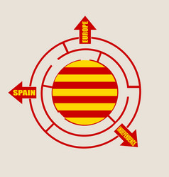 catalonia flag in the labyrinth vector image
