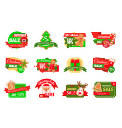 christmas sale offers shopping icons isolated set vector image