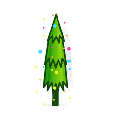 christmas tree icon decorated tree in flat vector image