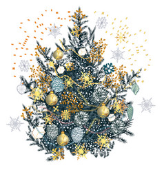 christmas tree in vintage hand drawn style vector image
