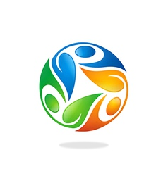 circular people ecology leaf logo vector image