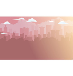 city building silhouette in morning sunlight vector image