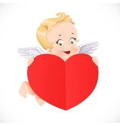Cute Cupid flies with a big valentine heart shaped vector image