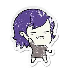 Distressed sticker of a cartoon undead vampire vector