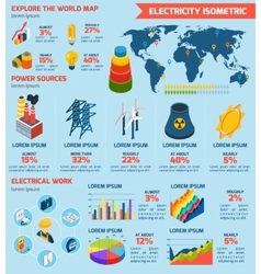 Electricity Isometric Infographics vector