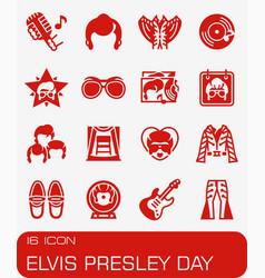 Elvis presley day icon set vector