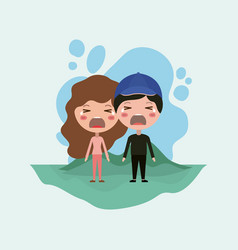 emoticons couple in the field kawaii characters vector image