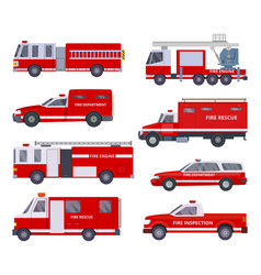 fire engine collection with red emergency vector image
