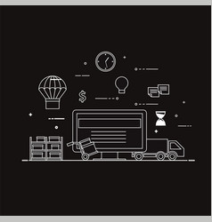 flat design black and white vector image