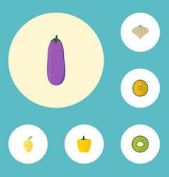Flat icons aubergine muskmelon exotic dessert vector
