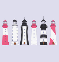 flat outline lighthouse beacon set vector image