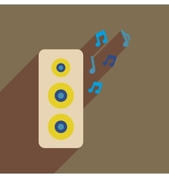 Flat web icon with long shadow musical speaker vector