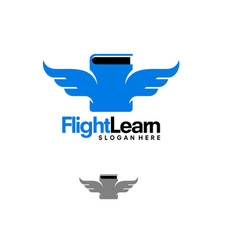 Flight learning logo designs book and wings logo vector