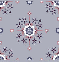 flowerly geometric rosettes in pastel purples vector image