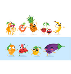 funny fruit characters - set of isolated vector image