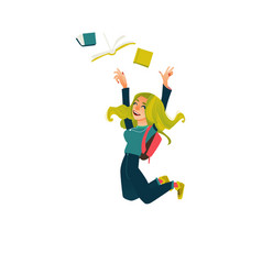 Funny student girl jumping from happiness vector