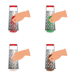 Grater tool with rendering of vegetables vector